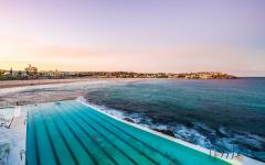 View of Bondi Beach from Bondi Icebergs Pool in Sydney, Australia.
