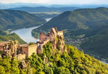 The Aggstein Castle overlooks the Danube River.