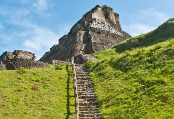 This ancient staircase leads to the ruins of Xunantunich, a Mayan archeological site.