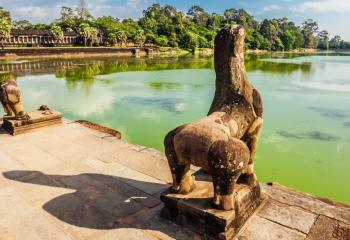 A Hindu temple, Angkor Wat is one of the largest religious monuments in the world.