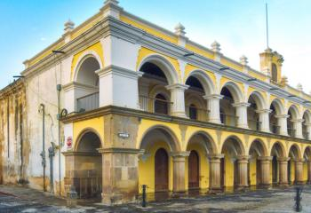 A colonial building in the main square of Antigua.