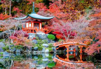 The garden of the Daigoji Temple in Kyoto, Japan.