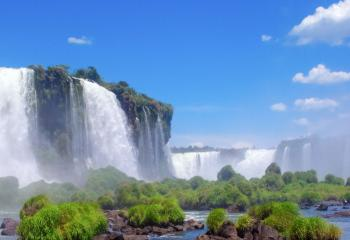 Iguau Falls lies on the border of Brazil and Argentina.