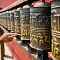 Prayer wheels in Nepal.
