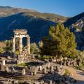 View of temple ruins in in the morning in Delphi, Greece