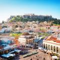 Skyline of Athens with Moanstiraki Square and Acropolis Hill in Greece