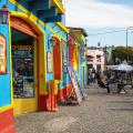 Colorful storefronts in Buenos Aires.