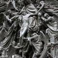 The bronze door of Milan Cathedral, Italy.