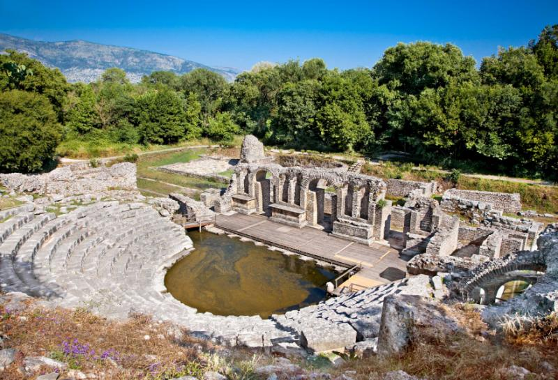 Butrint amphitheater remains of ancient baptistery from 6th century archeological site world heritage site.