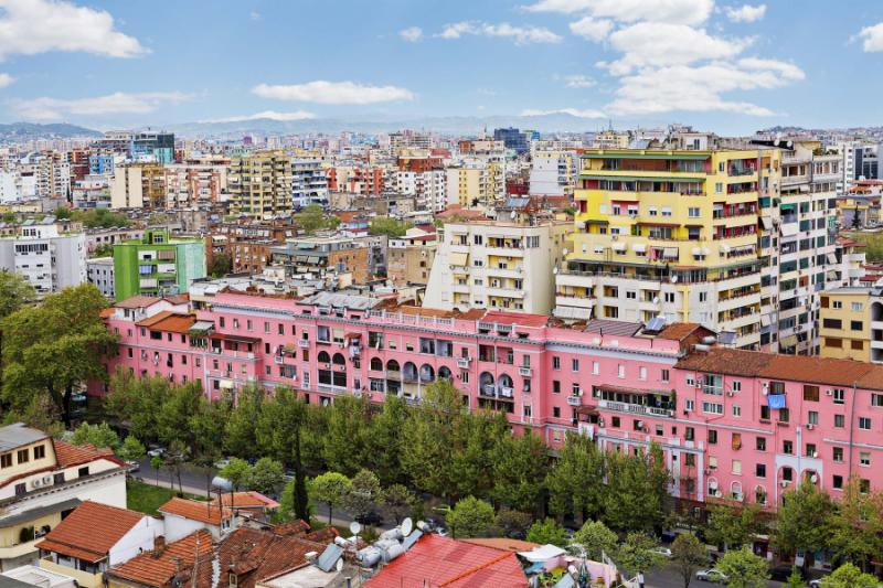 Colorful apartments in Tirana.