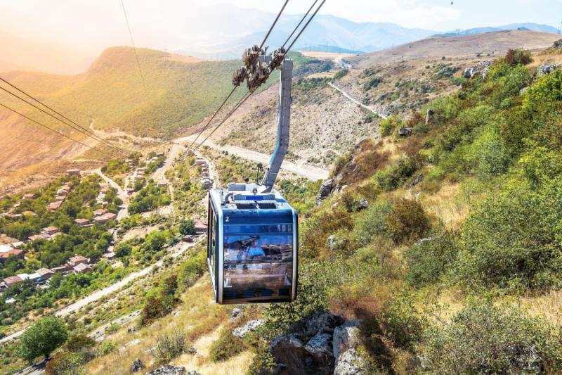 Wings of Tatev cableway worlds longest nonstop double track cable car.