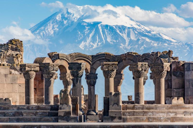 Zvartnos temple ruins with Mt Ararat in the background.
