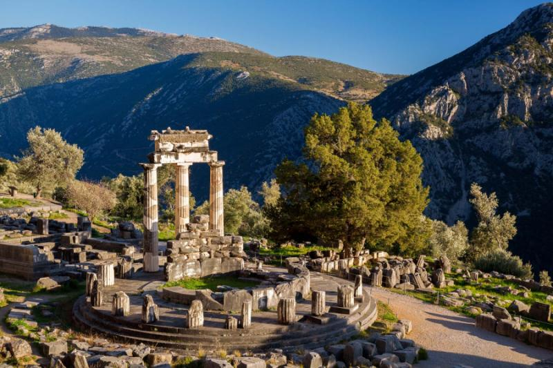 The Tholos, located near the Temple of Athena. Delphi, Greece. Credit: Shutterstock.