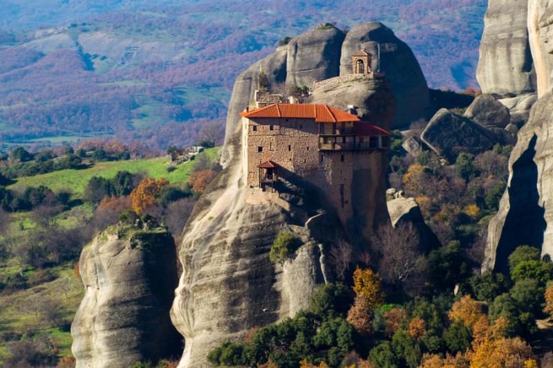 Hanging Monastery at Meteora of Kalampaka in Greece. Credit: Shutterstock.