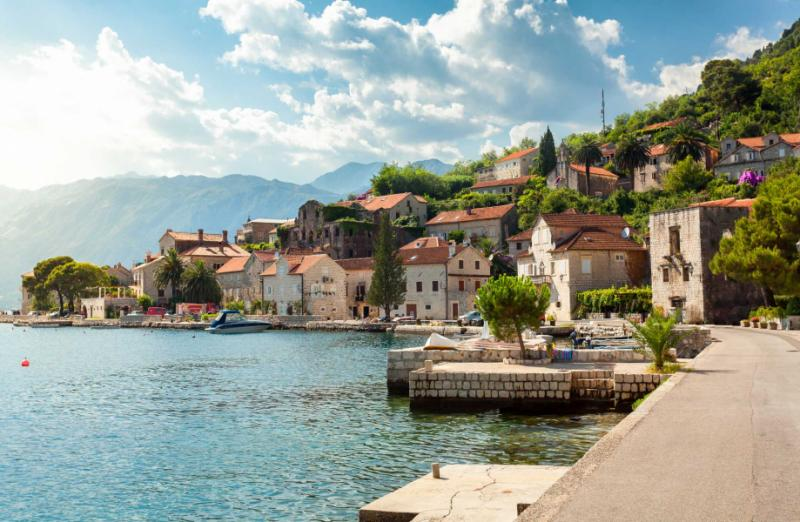 Beautiful view on city of Perast at Kotor Bay.