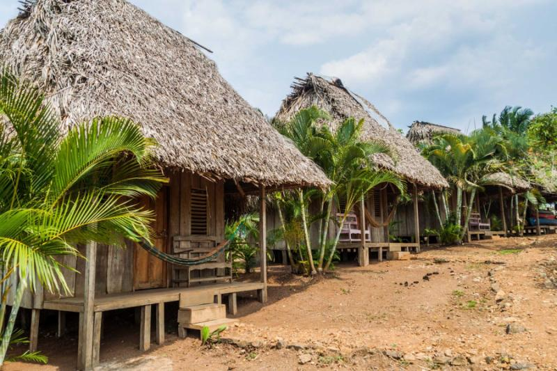 Thatched huts of a lodge near San Juan River Nicaragua