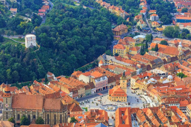 Aerial view of the old town, Brasov, Transylvania.