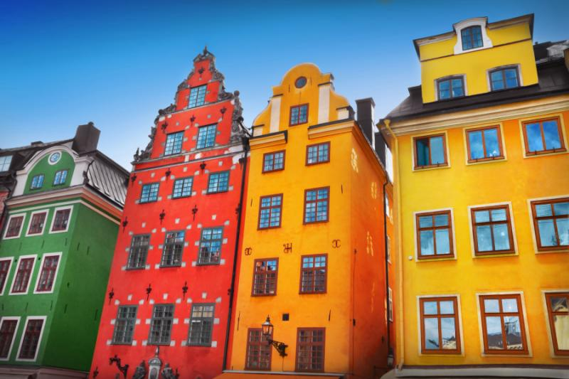 Colorful houses in Stockholm, Sweden