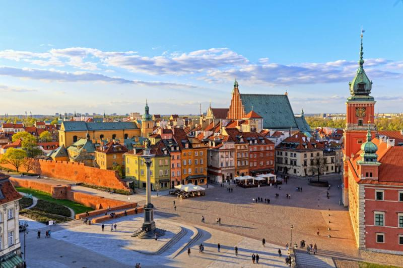 View of the old city in Warsaw.