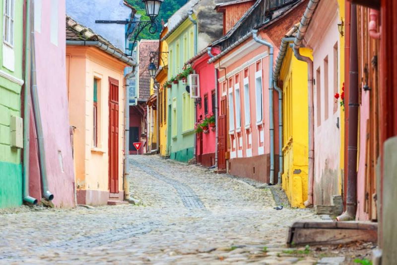 Medieval street view in Sighisoara, Romania.