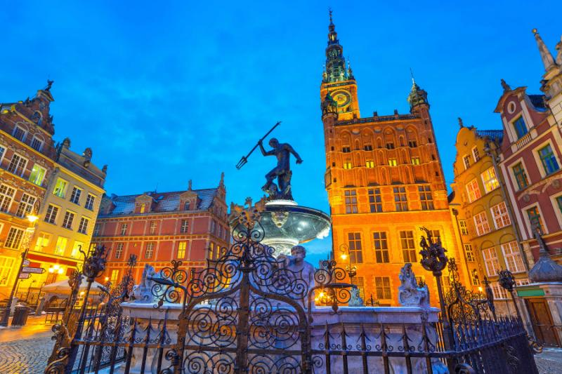 Fountain of the Neptune in Gdansk, Poland.