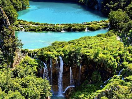 Plitvice lakes and waterfalls in Croatia.