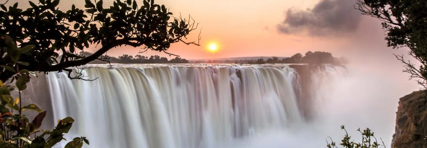 Victoria Falls lies on the border of Zimbabwe and Zambia.