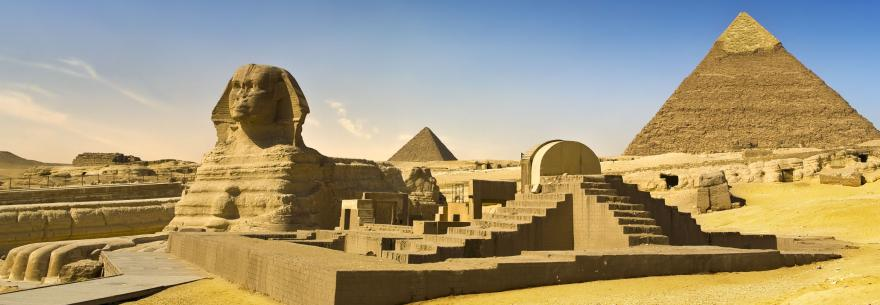 A view of the sphinx and the Great Pyramids.