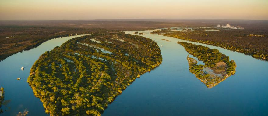 An aerial view of the Zambezi river.