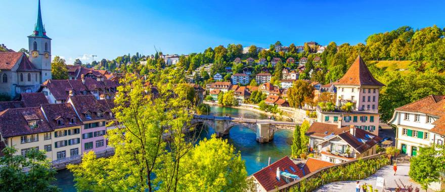 View of old city center of Bern with the Aare River.