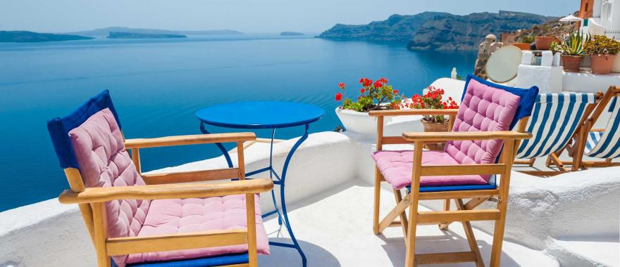 Greece terrace with a beautiful view of the Aegean Sea