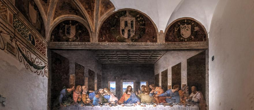 The Last Supper mural painted in the Santa Maria delle Grazie in Milan, Italy