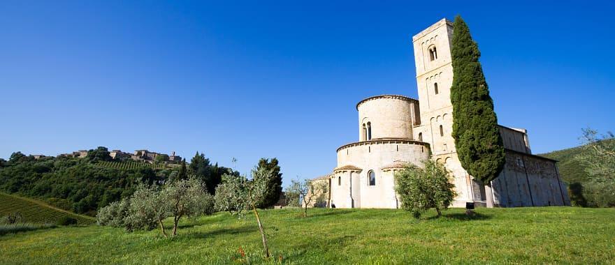 Sant'Antimo Abbey in Crete Senesi in the region of Tuscany, Italy