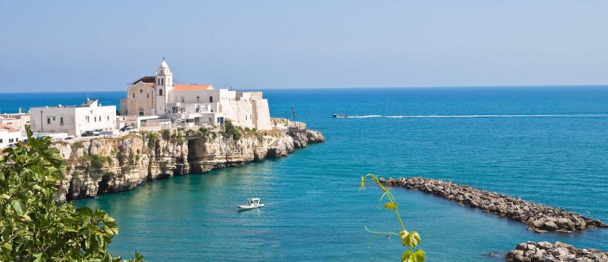 View of Vieste beach town in Italy