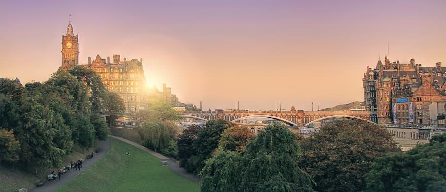 Panoramic view of the sun setting in Edinburgh, Scotland