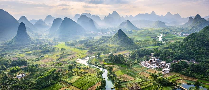 Aerial view of Guilin, with the Li River and Karst Mountains in Guanxi Province, China.