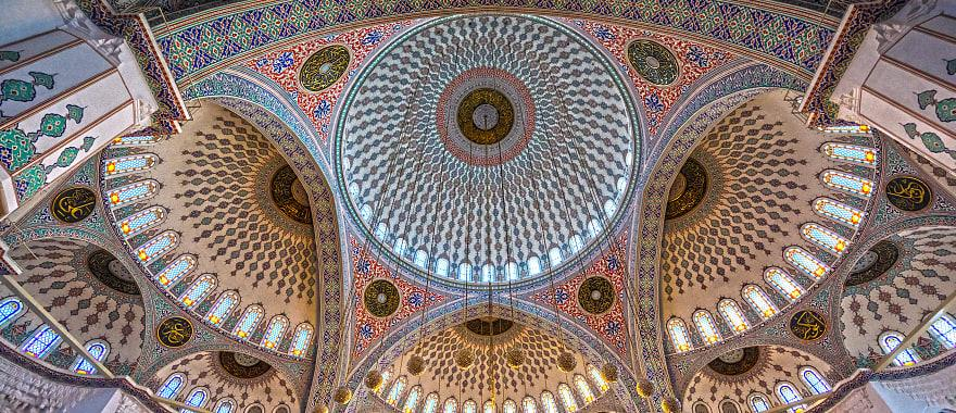 The intricate mosaic tile on the ceiling of Kocatepe Mosque in Ankara,Turkey