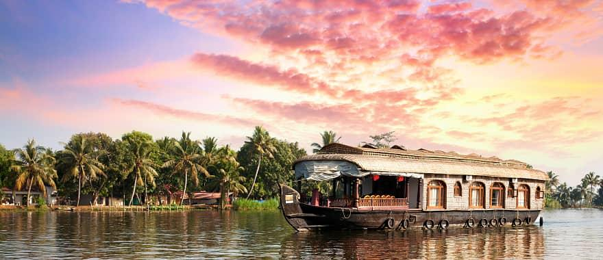 House boat on the backwaters of Alleppey in Kerala, India