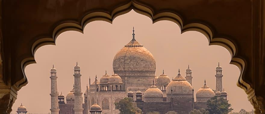 Taj Mahal mausoleum viewed from the Agra fort, India