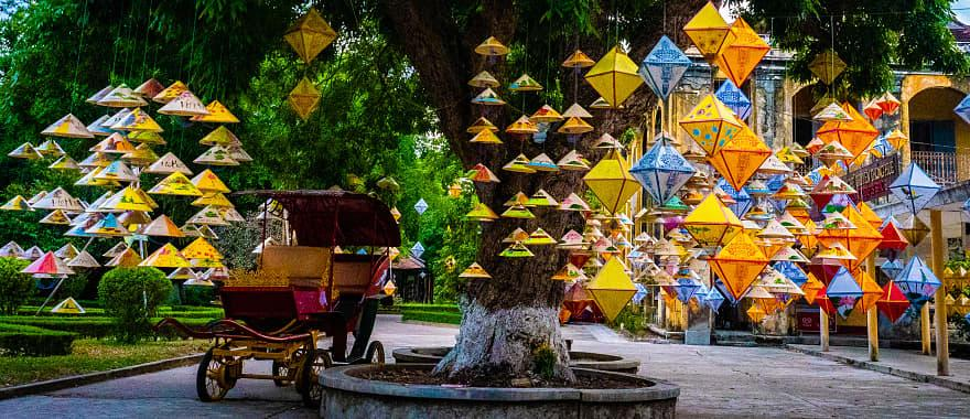 Lanterns hang in the old Imperial City of Hue, Vietnam