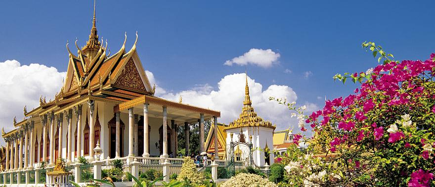 Flowers in full bloom at the Royal Palace in Phnom Pehn, Cambodia