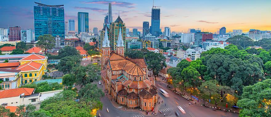 Aerial view of Notre-Dame Cathedral Basilica of Saigon in Ho Chi Minh City, Vietnam