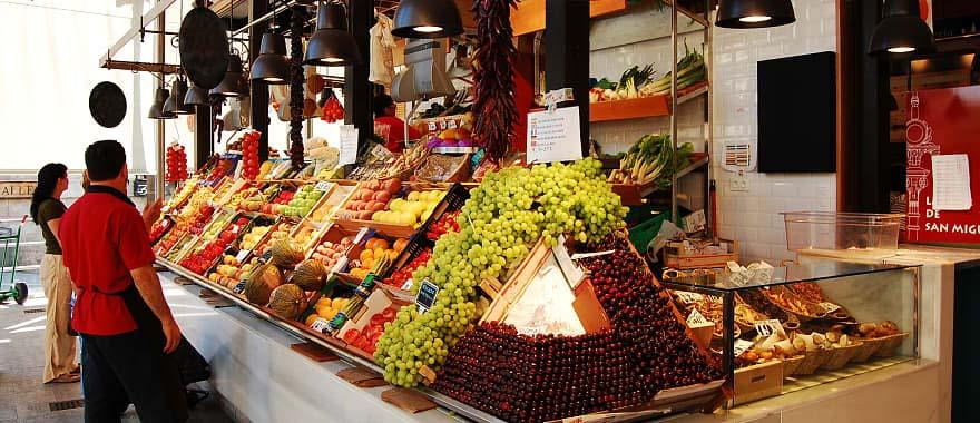 Food market in Madrid, Spain