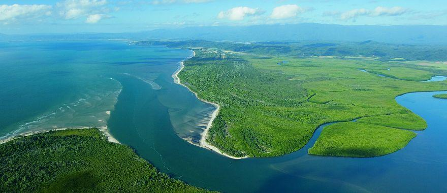 Aerial view of Daintree River in Daintree National Park, Queensland, Australia