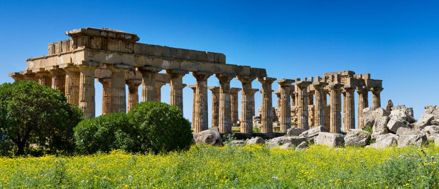 Greek temple ruins in Sicily, Italy