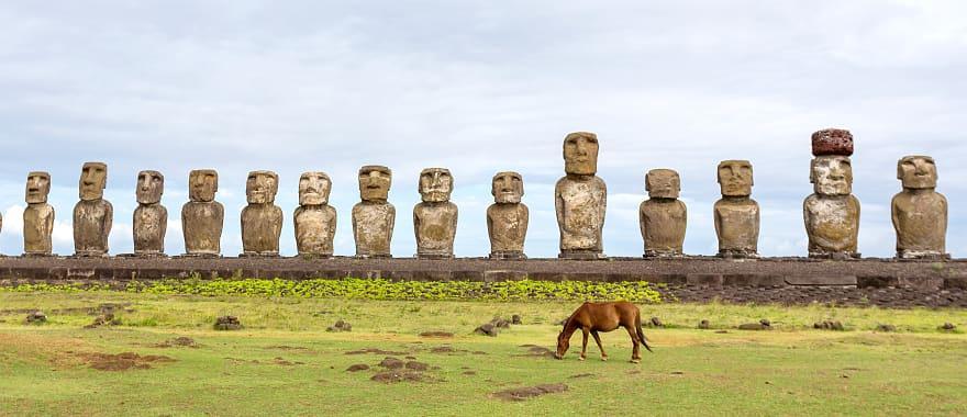 Chile Easter Island Wild horses against Ahu Tongariki.