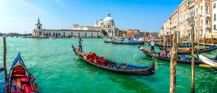 Group of gondoliers on their gondolas rowing on the Grand Canal with the Basilica di Santa Maria della Salute in the background