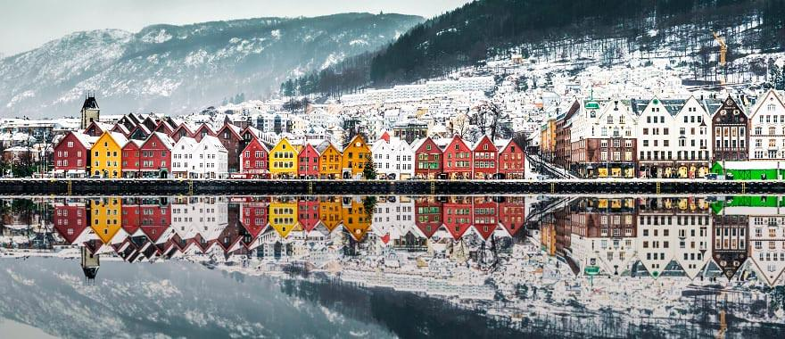 Colorful houses on lake in Bergen, Norway