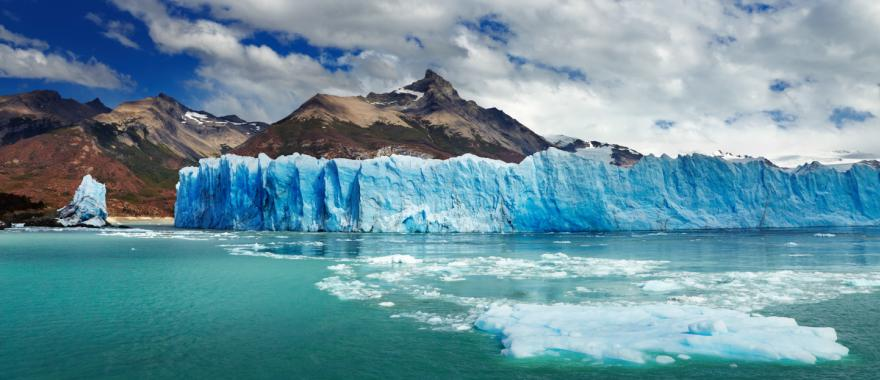 The Perito Moreno Glacier is located in Los Glaciares National Park, Santa Cruz, Argentina.