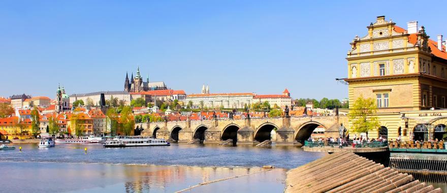 The Vltava River flows through Prague in the Czech Republic.